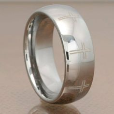 8mm Tungsten Carbide Silver Polish Domed Christian Cross Etch Men's Wedding Band FlameReflection. $18.99. Includes a custom design Treasure box to hold your new piece of Jewelry!
