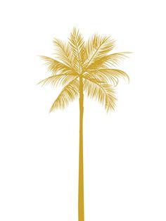 Gold Palm Tree Print California Palm Tree Mustard Yellow