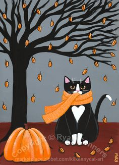 Autumn Tuxedo Cat Original Cat Folk Art Painting by KilkennyCat Art, Copyright © Ryan Conners I Love Cats, Crazy Cats, Cool Cats, Halloween Painting, Halloween Cat, Photo Chat, Autumn Art, White Cats, Cats And Kittens