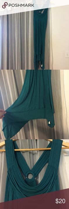 S U M M E R  D R E S S Teal flowy summer dress, easy to dress down or up! A beautiful piece to have in your wardrobe so simple yet so elegant. Rebecca Beeson collection. Not Free people, used for exposure. Size 3. Free People Dresses Midi