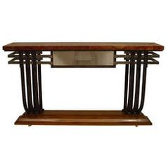 French Art Deco Metal, Wood, and Stone Console With Drawer L 5 ft. 3.8 in. D 14.5 in. H 36 in.  $32,500