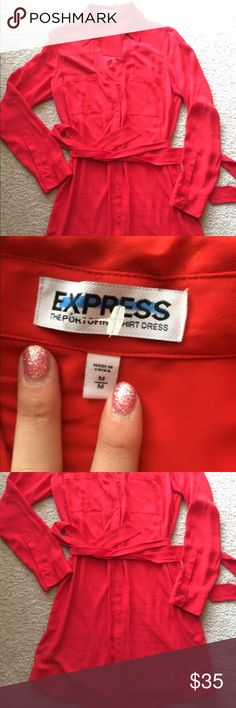 Red Express Portofino Shirt Dress size medium This is a red Express Portofino dress, size medium. It can be dressed up or down - for any season. Wear it with cute wedges in the spring/summer or with leggings and boots during the fall/winter! Very cute for work! Express Dresses
