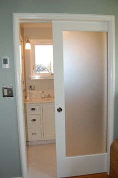 Pocket Door With Frosted Gl Panel Keeps Light Flowing From One Room To The Next Perfect For Our Master Bedroom Home Bathroom Doors