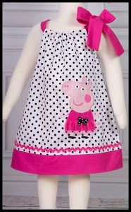 """""""Best Images about Peppa Pig Birthday Party"""", """"NEW Super Cute Posh Peppa Pig applique von LilBitofWhimsyC Casual Dress Outfits, Kids Outfits, Toddler Dress, Baby Dress, Dot Dress, Toddler Girl, Fashion Kids, Little Girl Dresses, Girls Dresses"""