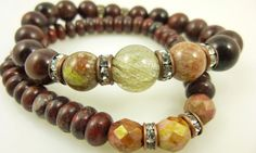 Fall Preview - Rutilated quartz and brecciated jasper boho stacking bracelets, cleaned and energy activated by EarthEnergyGemstones
