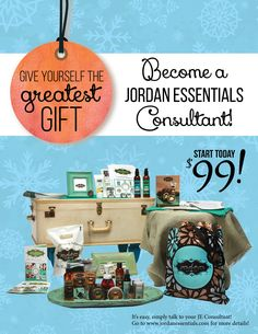 Give yourself the greatest gift of all.  Become a Jordan Essentials Consultant!    Start today for only $99!!  Healthy skin care for the entire family!