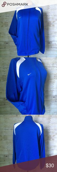 ✨NEW Listing✨Nike Men's Fit Dry zip jacket Nike Fit Dry full zip jacket for men in blue with white shoulder insets. Side pockets. Size is XL. 100% polyester. Not interested in trades. Nike Jackets & Coats Performance Jackets