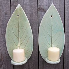 Handbuilt Hosta Leaf Clay/Pottery Wall Hanging Candle Sconces in Light Green Celadon, set of 2