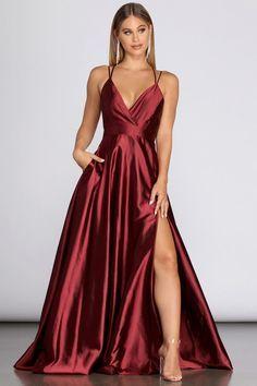 Stunning Prom Dresses, Pretty Prom Dresses, Hoco Dresses, Ball Dresses, Satin Dresses, Elegant Dresses, Ball Gowns, Red Satin Prom Dress, Cute Formal Dresses