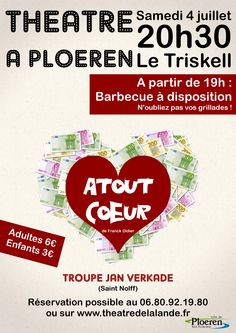 Affiche pièce de théâtre ATOUT COEUR par la troupe JAN VERKADE - créée par Cilette