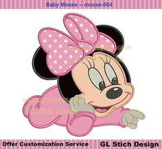 Baby mouse applique girly Machine Embroidery by GLStitchStudio, $2.99