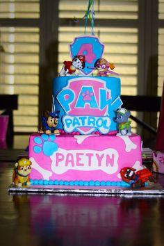 Adorable girls birthday party idea - themed PAW Patrol cake!