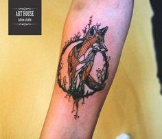 Alexandra #fox #tattoo #orange #line #лиса