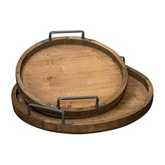 Rustic Wood Platters With Metal Handles, Round Serving Trays, 18 Inch And 14 Inch Diameter, Natural Wood, Industrial chic (Set of 2) Plus One Imports http://www.amazon.com/dp/B01CGTP3AO/ref=cm_sw_r_pi_dp_r6z5wb02W6ZEG