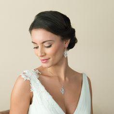 Diamante Heart Wedding Earrings to buy today from ayedo.co.uk