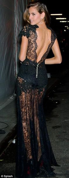 #Sexy Black Sheer Lace Dress