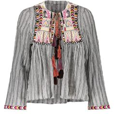 Front Tie Closure Embroidered Striped Blouse (685 UYU) ❤ liked on Polyvore featuring tops, blouses, rosegal, embroidery blouses, stripe top, stripe blouse, embroidery top and embroidered top