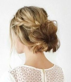 Loose braid and messy bun.