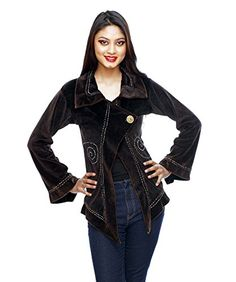 Rising International Inc Women's Velvet Swirl Jacket MED black