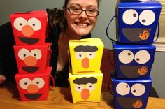 DIY goodie boxes Sesame Street birthday