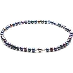 HinsonGayle 925 Sterling AAA Handpicked Multicolor Black Cultured Pearl Necklace A perfect kaleidoscope of color this HinsonGayle handpicked Ultra-Iridescent multicolored black pearl necklace is color treated to create richly toned color fast surfaces. Select either the smaller 6.5 mm pearls on a 16-inch necklace or the standard sized 7.5mm pearls on an 18-inch necklace. HinsonGayle purposefully selected an eclectic assortment of overtones to mix around the strand including purple blue-green…