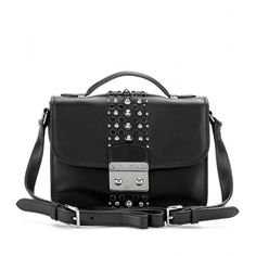 Miu Miu Studded Leather Shoulder Bag (€965) ❤ liked on Polyvore featuring bags, handbags, shoulder bags, purses, black, leather hand bags, leather handbags, man shoulder bag, leather man bags and shoulder handbags