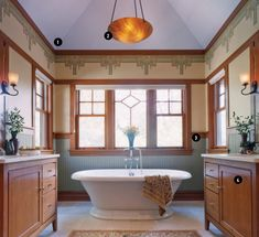 A free standing tub is a great choice for an Arts and Crafts house. Though we think tile on the walls would be even more fun. We are biased though and this room does look stunning. Arts And Crafts Interiors, Arts And Crafts Furniture, Arts And Crafts House, Easy Arts And Crafts, Home Crafts, City Furniture, Furniture Stores, Kitchen Furniture, Fun Craft