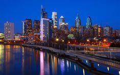 Download wallpapers Philadelphia, Pennsylvania, cityscape, evening, city lights, city line, skyscrapers, USA