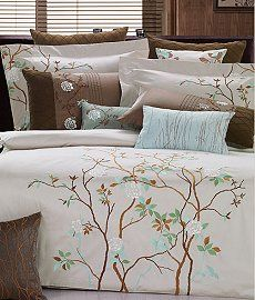 Sleep in cozy comfort with this Mayfield embroidered duvet cover set. Featuring a lovely tree and floral embroidered design,