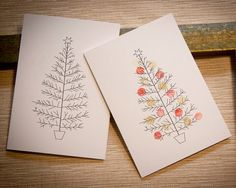 Items similar to finger print christmas cards PACK of 10 on Etsy
