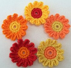 Crocheted Fall Flowers 12 Petals by FineThreads on Etsy
