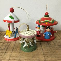 Lot of 3 Vintage Carousel Christmas Ornaments Merry Go Round #Christmas