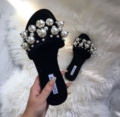 Miu Miu sandals black with pearl Cute Sandals, Cute Shoes, Me Too Shoes, Shoes Sandals, Heels, Flats, Pearl Sandals, Pretty Shoes, Flat Sandals