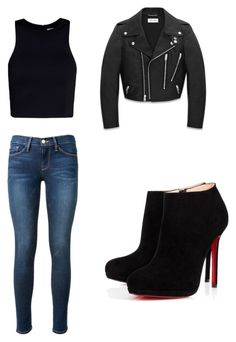 """night-pub"" by flor-dx ❤ liked on Polyvore featuring beauty, Frame Denim, Yves Saint Laurent, T By Alexander Wang and Christian Louboutin"