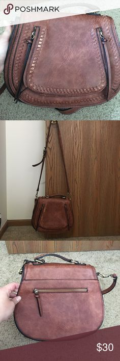 Offers! Brown crossbody purse. Some worn areas on the front. Still has a lot of life to it. madison west Bags Crossbody Bags