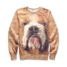 Men brown 3D dog sweatshirt autumn casual crew neck sweatshirt