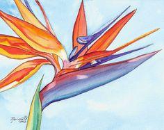 Bird of Paradise 3 Watercolor Painting Original by kauaiartist, $89.00