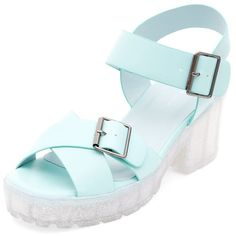 Mint Green Jelly Block Heel Sandals (€9,21) ❤ liked on Polyvore featuring women's fashion, shoes, sandals, mint green, block heel sandals, mint green sandals, block heel shoes, mint shoes and jelly sandals