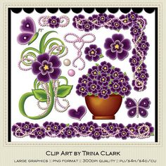 NEW Pretty Pansies 2 Clip Art by Trina Clark by marlodeedesigns, $1.25