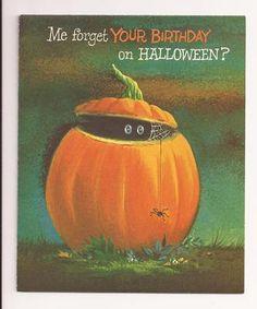 Vintage Halloween Greeting Card Spooky Eyes Peering Out Of A Pumpkin Circa 1950s