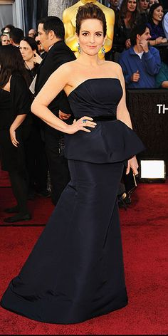 Oh, hello there Old Hollywood Glamour. Tina Fey looked like a star... A real one. Shiny and so confident. She made that red carpet her b!*@#! The peplum looked great, her hair and makeup were on point. She hit it out of the park. Tied for third place with Glenn Close.