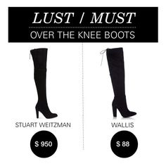 """Lust/Must: Over the Knee Boots"" by polyvore-editorial ❤ liked on Polyvore featuring Wallis, Stuart Weitzman, women's clothing, women, female, woman, misses, juniors and lustmust"
