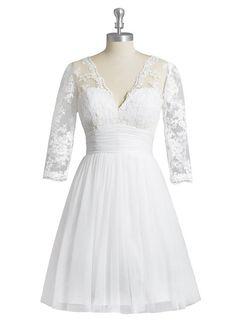 Bridalgirl Women's Plus Size Short Lace 3/4 Sleeve Wedding Dress Ivory 22W
