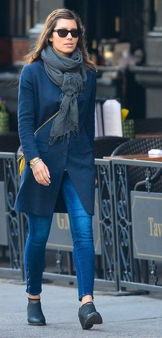 Actress Jessica Biel walking the streets of SoHo wearing 'Arielle Coat' and 'Crimean Boot'.