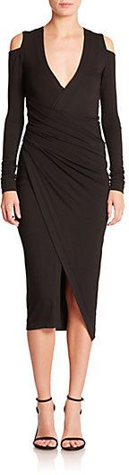 Donna Karan Cold-Shoulder Draped Dress