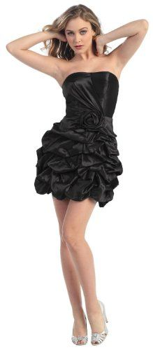 Strapless Flower Pickup Formal Bridesmaid Prom Dress 689 20 Black * To view further for this item, visit the image link.