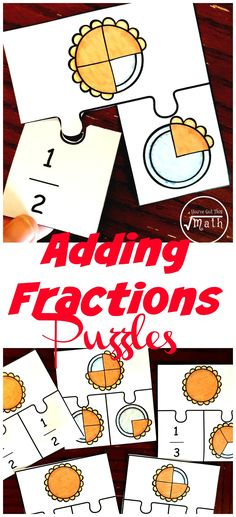 Adding fractions can be confusing for some students. Help them by modeling addition of fractions with these free pie puzzles. Fractions For Kids, Addition Of Fractions, Adding And Subtracting Fractions, Teaching Fractions, Math Fractions, Addition And Subtraction, Multiplication, Dividing Fractions, Maths