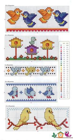 Birds and Birdhouses Tiny Cross Stitch, Cross Stitch Bookmarks, Cross Stitch Borders, Cross Stitch Alphabet, Cross Stitch Animals, Cross Stitch Flowers, Cross Stitch Designs, Cross Stitching, Cross Stitch Embroidery