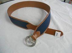 Lauren Ralph Lauren Women'S Canvas Navy/ Lauren Tan Equestrian D-Ring Belt - Xl