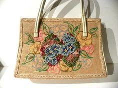 Vintage Embellished Handbag Burlap and Vinyl Beaded Purse by Caron Houston Texas